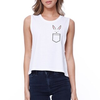 Rabbit Pocket Crop Tee Sleeveless Shirt Junior Tank Top For Easter