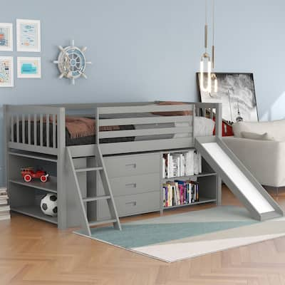 Nestfair Low Loft Bed with Bookcases and Separate 3-tier Drawers