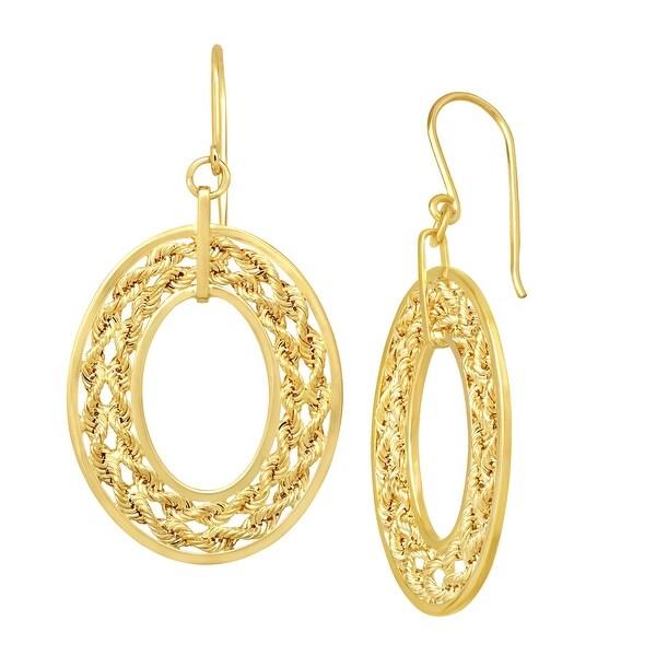 Eternity Gold Roped Oval Drop Earrings in 14K Gold - YELLOW