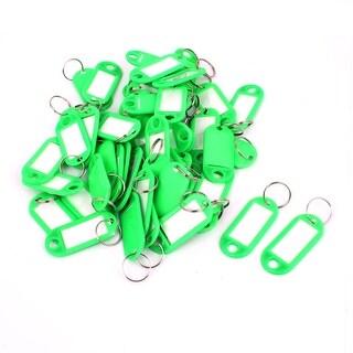 Unique Bargains 50pcs Green Plastic Luggage Fobs ID Label Name Tag Badge Clip Holder Keyring