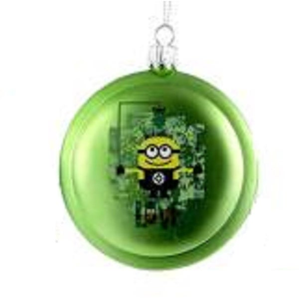 "3.5"" Despicable Me Lime Green Minions ""Love"" Disc Christmas Ornament"
