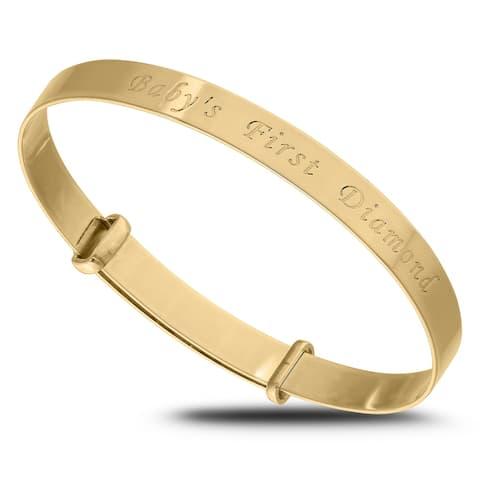 Babys first Diamond Gold Bangle Bracelet for Baby Shower