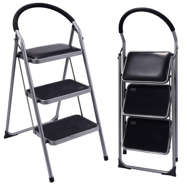 Costway Non Slip 3 Step Ladder Lightweight Folding Stool Platform Heavy  Duty Industrial