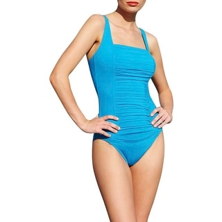 Calvin Klein Womens Ruched Panel Stretch One-Piece Swimsuit