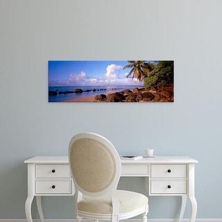 Easy Art Prints Panoramic Images's 'Rocks on the beach, Anini Beach, Kauai, Hawaii, USA' Premium Canvas Art