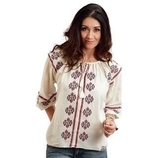 Stetson Western Shirt Womens Scoop Neck Raglan Tan 11-050-0565-0707 WH