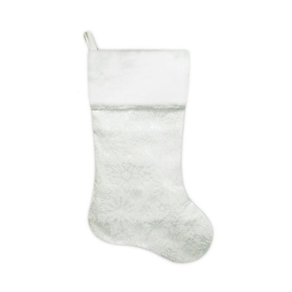 "20.5"" Iridescent Glitter Snowflake Print Christmas Stocking with White Faux Fur Cuff"