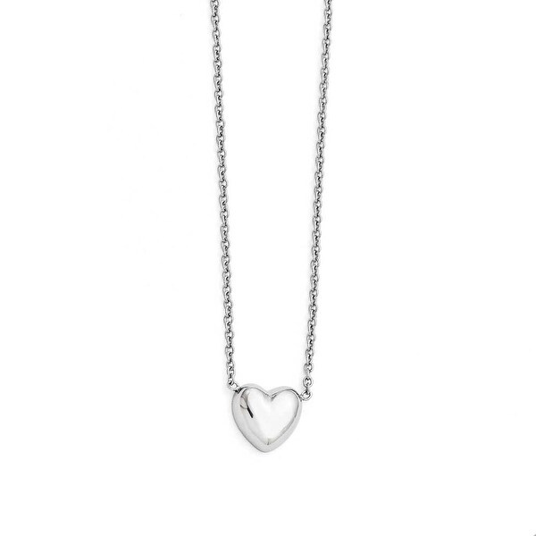 Chisel Stainless Steel Polished Heart Necklace (1 mm) - 19 in