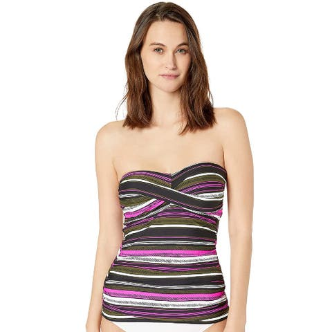 Anne Cole Women's Twist Front Shirred Bandeau Tankini Swim Top, Multi, XS