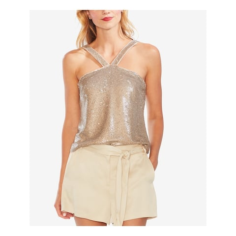 VINCE CAMUTO Womens Beige Sleeveless Halter Party Top Size 10