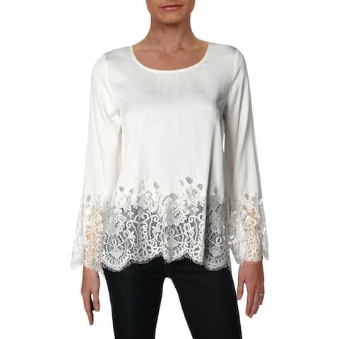 Karen Kane Womens Blouse Bell-sleeve Lace-Trim
