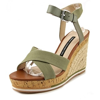 French Connection Lata Open Toe Canvas Wedge Sandal