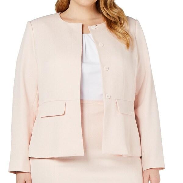 Calvin Klein Women Peplum Jacket Pink Size 14W Plus 4-Button Jewel Neck. Opens flyout.