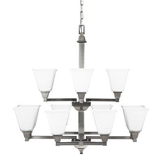 Sea Gull Lighting 3150412-962 Denhelm 12 Light Glass Chandelier Lighting Nickel
