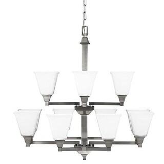 Sea Gull Lighting 3150412-962 Denhelm 12 Light Glass Chandelier Lighting Nickel