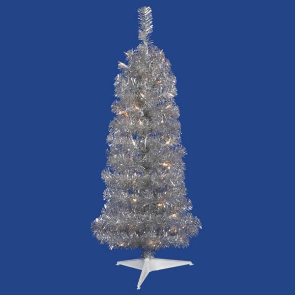3' Pre-Lit Silver Artificial Pencil Tinsel Christmas Tree – Clear Lights