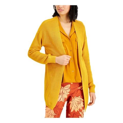 ALFANI Womens Gold Long Sleeve Open Cardigan Sweater Size XS
