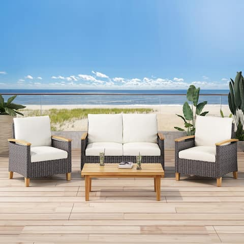 Isla Outdoor 4 Seater Chat Set with Coffee Table by Christopher Knight Home