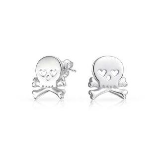 Bling Jewelry Goth Punk Rock Skull Crossbones Stud earrings 925 Sterling Silver 95mm