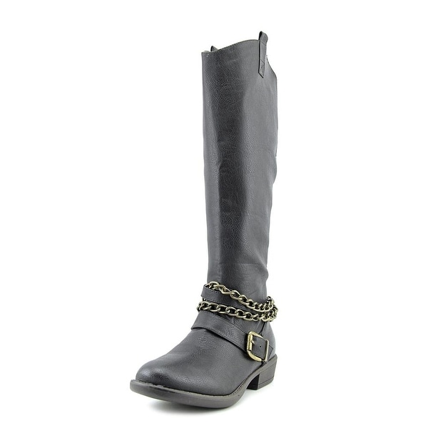 G.C. Shoes Sure Shot Women Round Toe Synthetic Black Knee High Boot