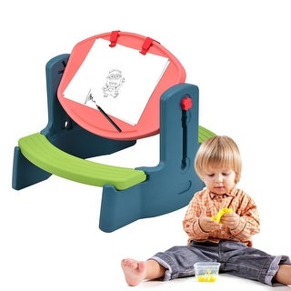 Costway Plastic Children Kids Drawing Table Chair Set Height Adjustable Colorful Play - as pic