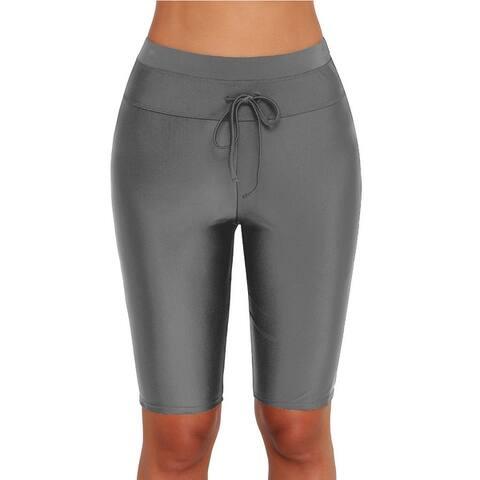 Single Black Swimming Trunks Women's Five Pants High Waist Flat Angle