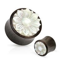 Lotus Flower Mother of Pearl Inlay Organic Wood Saddle Plug (Sold Individually)