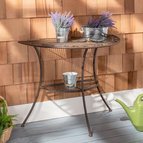 """SAFAVIEH Outdoor Living Genson Victorian Iron 2-Tier End Table - 39.3"""" W x 20.5"""" L x 31.5 H"""