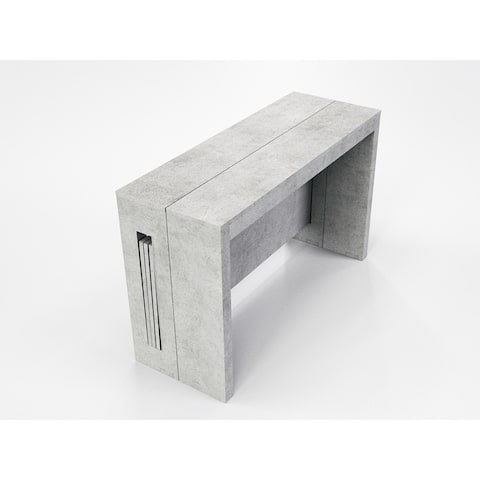 ELASTO Gray Concrete Extendable Console / Dining Table by Talenti Casa