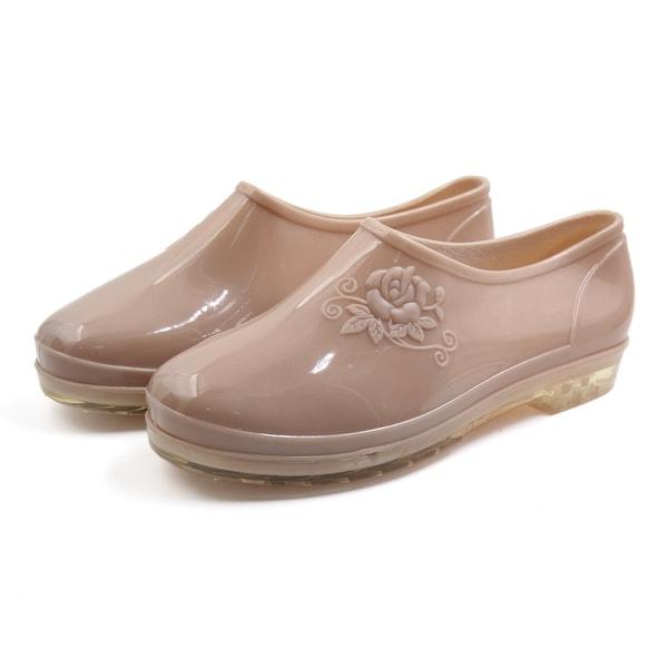 Skin Color US 7 PVC Low Heel Anti-slip Waterproof Rain Boots Wellies Ankle Shoes