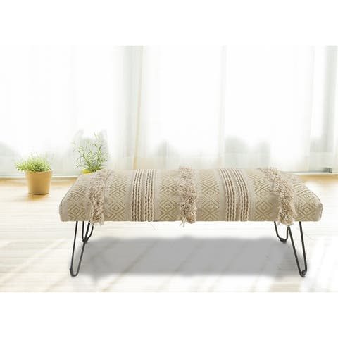 """LR Home Natural and Gold Tufted Geometric Indoor Bench - 3'11"""" x 1'4"""""""
