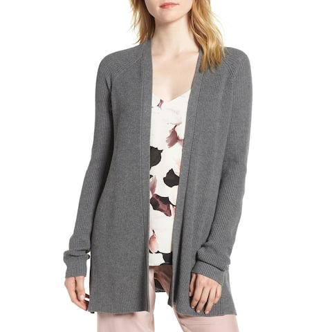 Chelsea28 Gray Womens Size Large L Open Front Knit Stretch Cardigan