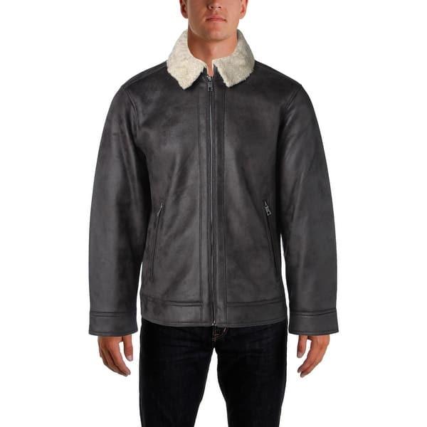Shop Nautica Men's Faux Shearling Faux Leather Fall Coat - Overstock -  18691899