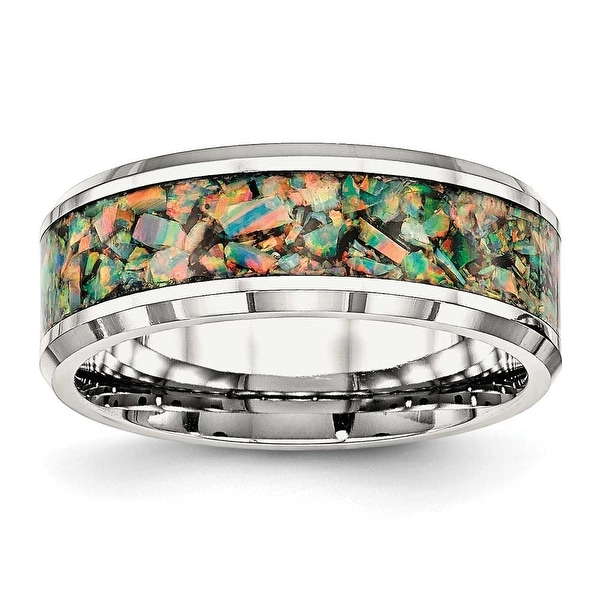 Stainless Steel Polished with Imitation Opal 8 mm Men's Ring - Sizes 7 - 13