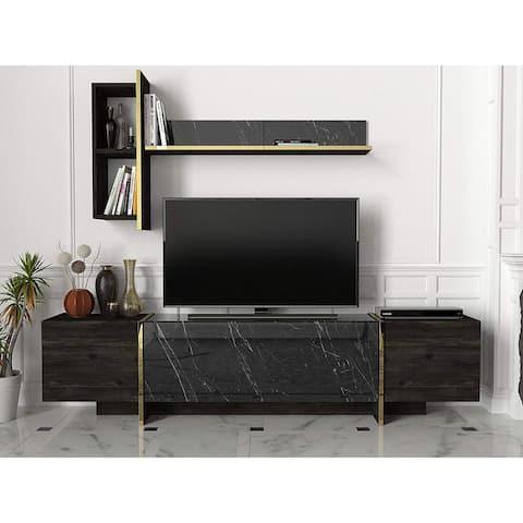 Veyron TV Unit Black Rebab-Black Marble