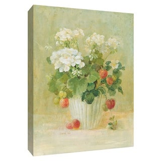 """PTM Images 9-154595  PTM Canvas Collection 10"""" x 8"""" - """"White Geraniums with Strawberries"""" Giclee Flowers Art Print on Canvas"""