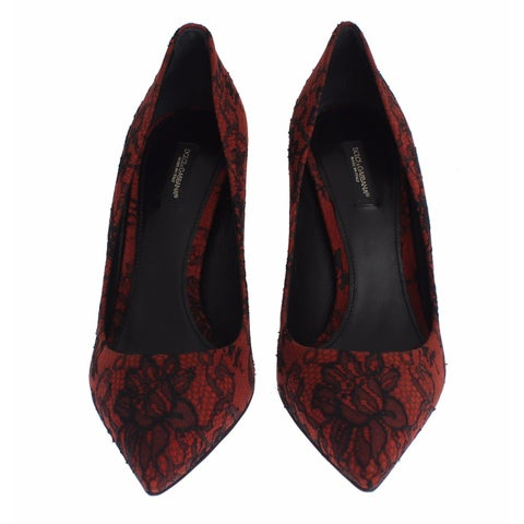 Dolce & Gabbana Red Suede Black Lace Pointy Pumps Shoes - 41