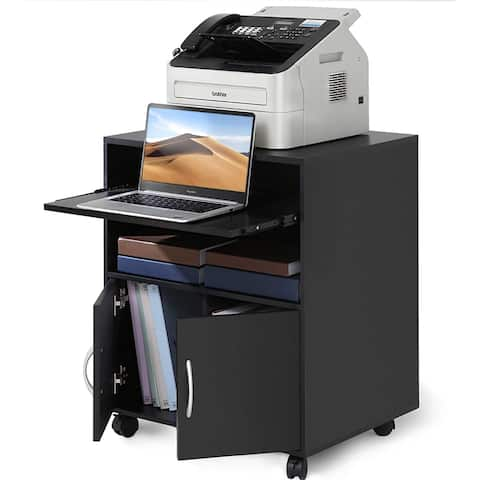 Mobile Printer Stand with Keyboard Tray On Wheels with Storage