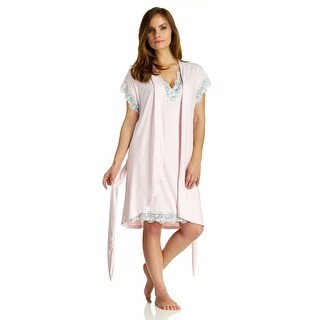 Body Touch Women's Pink Chemise Nightgown & Robe Sleepwear Set