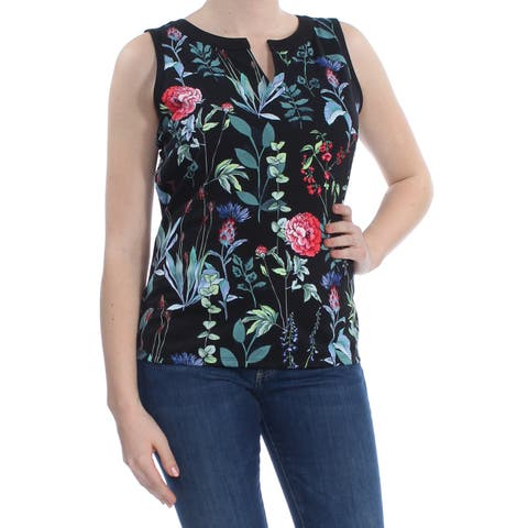 TOMMY HILFIGER Womens Black Floral Sleeveless V Neck Top Size: M