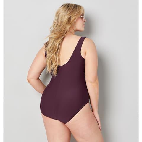 AVENUE Women's Ruched Ruffle Sweetheart Swimsuit - Purple