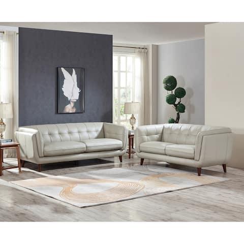 Hydeline Solana Top Grain Leather Sofa Set, Sofa and Loveseat