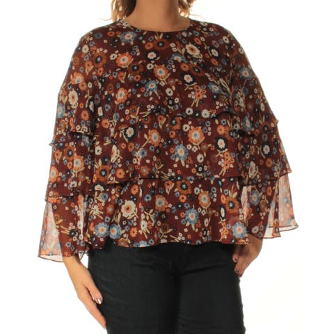 INC Womens Brown Ruffled Floral Bell Sleeve Boat Neck Top Size: XS