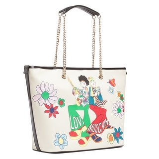 Moschino JC4079 0110 Stamped Ivory Shopper/Tote - stamped ivory