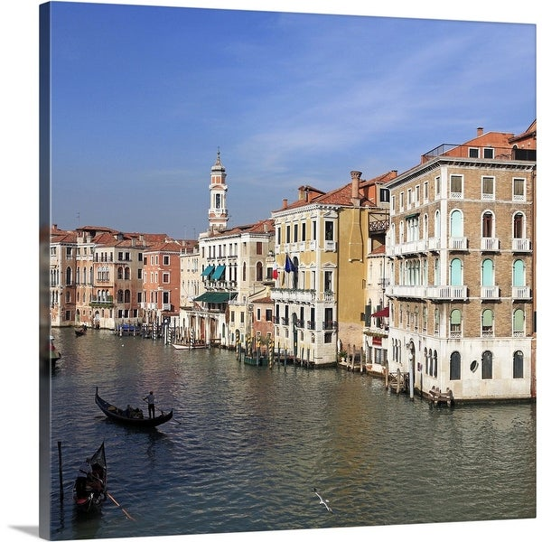 """Venice canals and gondolas in Autumn light"" Canvas Wall Art"