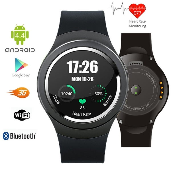 Indigi® A6 Bluetooth 4.0 3G Unlocked SmartWatch & Phone - Android 4.4 OS + Pedometer + Accurate Heart Monitor + WiFi