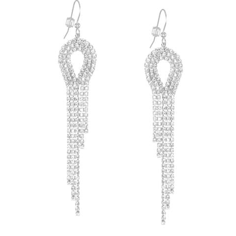 Teardrop Rhinestone Dangle Earrings .925 Sterling Silver Earwires