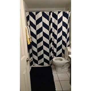 Lush Decor Navy Polyester Jigsaw Chevron Shower Curtain
