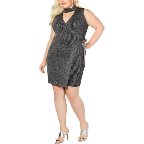 Say What? Womens Plus Wrap Dress Metallic Cut-Out