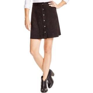 Aqua Womens A-Line Skirt Faux Suede Snap Front